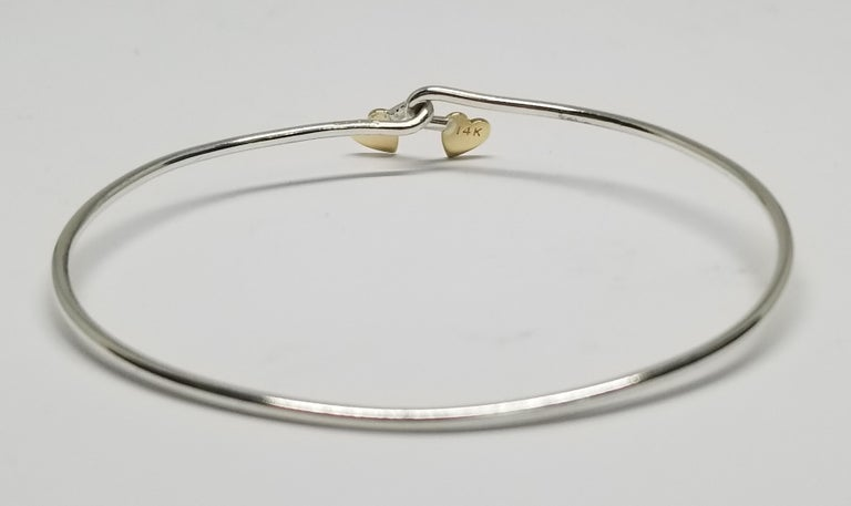 14 Karat Yellow Gold Heart and Sterling Silver Wire