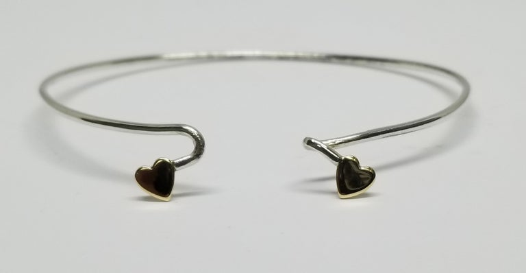 Women's or Men's 14 Karat Yellow Gold Heart and Sterling Silver Wire