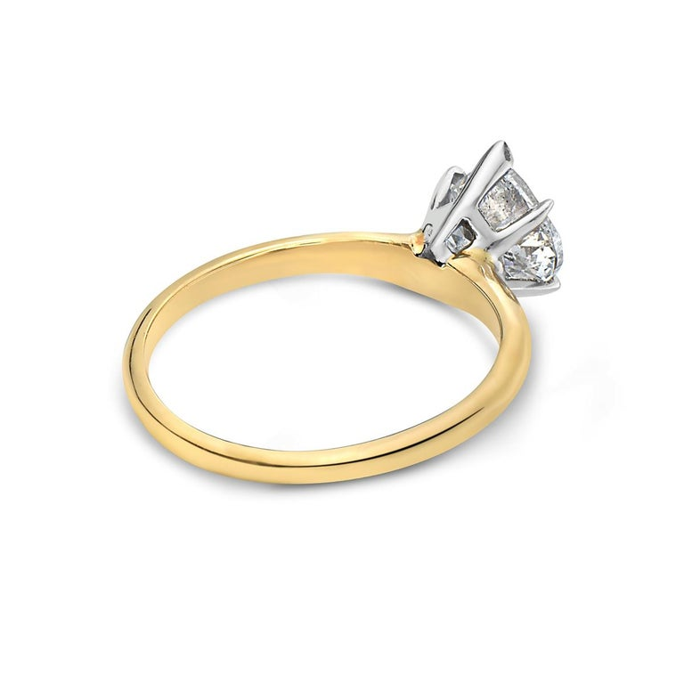 Contemporary 14 Karat Yellow Gold Heart Shape Engagement Ring For Sale