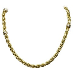 "14k yellow gold ""Hollow"" heavy look necklace with black onyx ""Toggle"" clasp"
