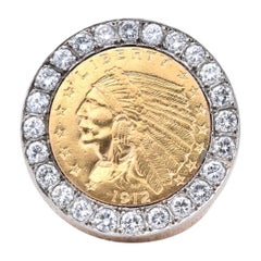 14 Karat Yellow Gold Indian $2.50 Coin Diamond Bezel Set Ring