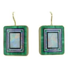 14k Yellow Gold Intarsia Genuine Natural Opal Inlay Earrings Kaufmann '#J4610'