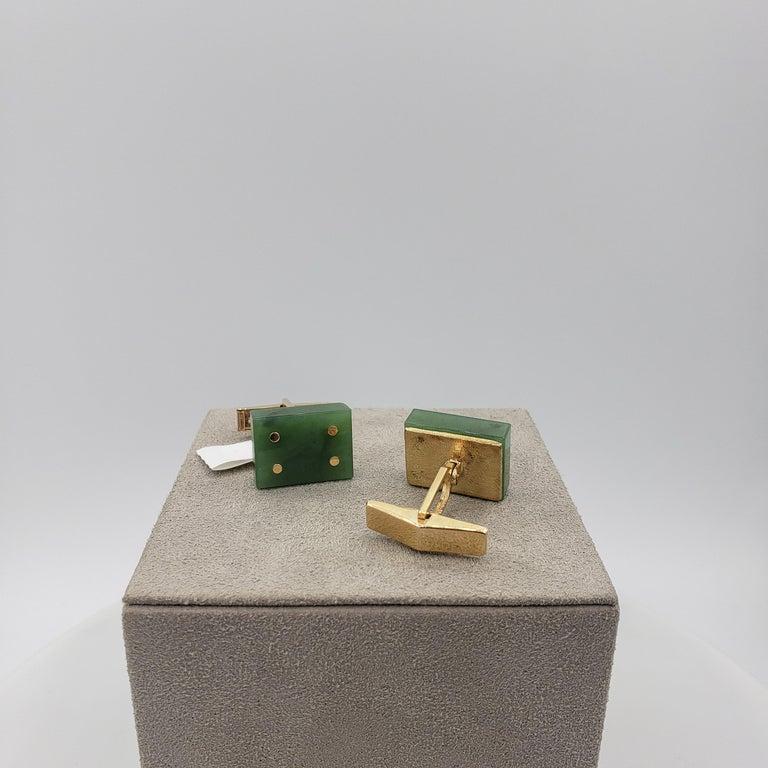 Square Cut 14 Karat Yellow Gold Jade Domino Cufflinks For Sale
