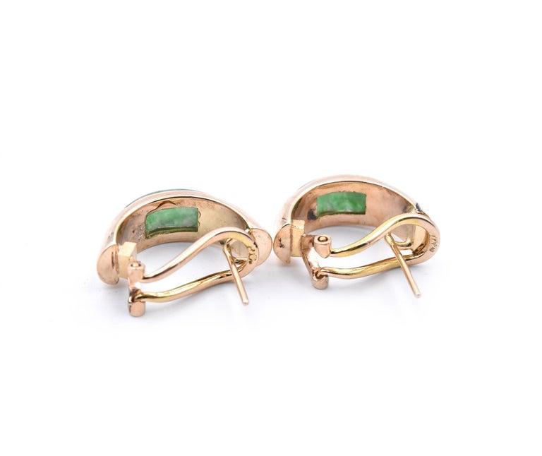Women's or Men's 14 Karat Yellow Gold Jade Huggie Earrings For Sale