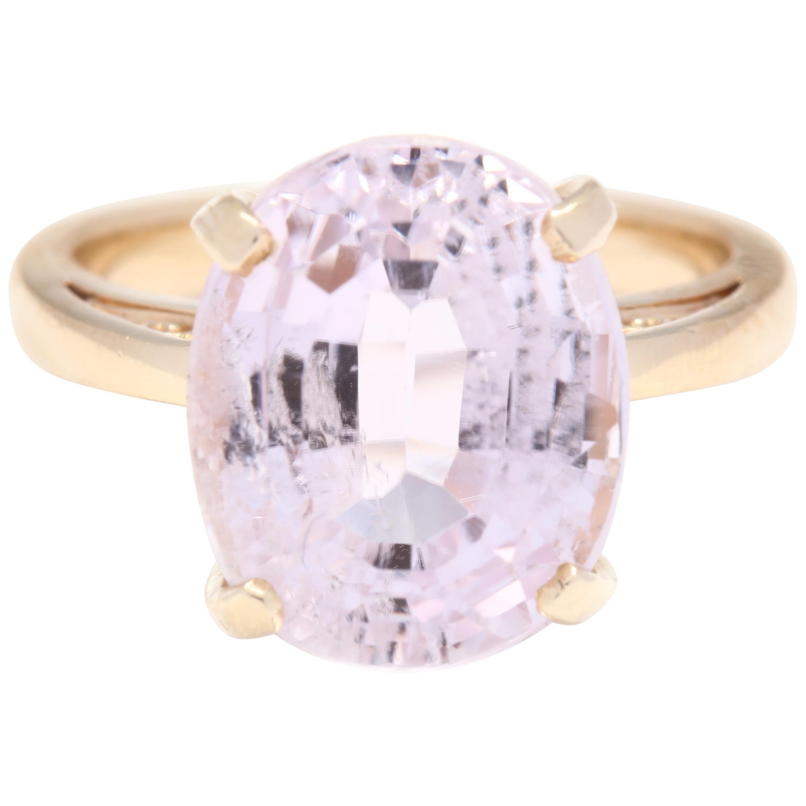 14 Karat Yellow Gold and Kunzite Solitaire Ring, Pink Cocktail Ring