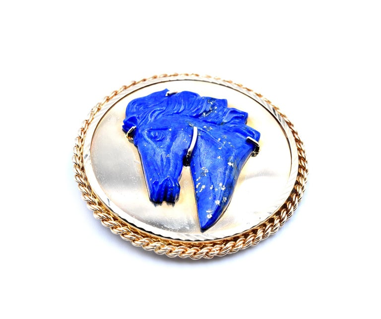 Designer: custom design Material: 14k yellow gold  Gemstones: lapis Dimensions: pin measures 44.20mm in diameter Weight: 21.74 grams