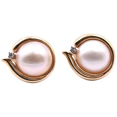 14 Karat Yellow Gold Mabe Pearl and Diamond Clip-On Earrings