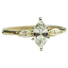 14k Yellow Gold Marquise Cut Diamond Ring 1.03cts