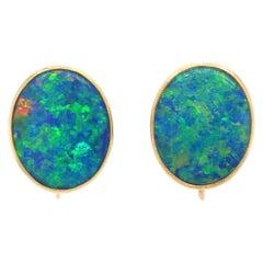 14 Karat Yellow Gold Milgrain Vintage Bezel Set Fiery Opal Screw Back Earrings
