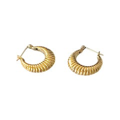 14K Yellow Gold Mini Ribbed Hoops