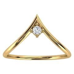 14k Yellow Gold Minimalist Chevron Solitaire Diamond Ring 'Center - 0.07 Carat'