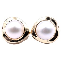 14 Karat Yellow Gold Mobe Pearl Earrings