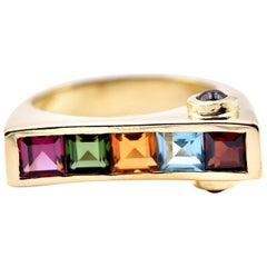 14 Karat Yellow Gold Multi Gemstone Geometric Custom Ring