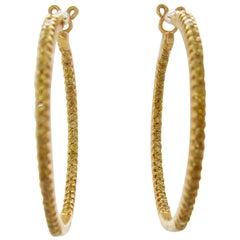 14K Yellow Gold Natural Fancy Yellow Diamond Large Inside Outside Hoop Earrings