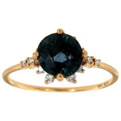 14K Yellow Gold Old Cut Teal Unheated Sapphire Diamond Ring 'Center 1.90 Carat'