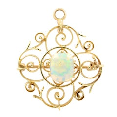 14 Karat Yellow Gold Opal Brooch