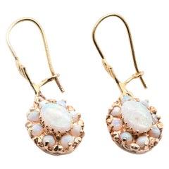 14 Karat Yellow Gold Opal Cluster Dangle Earrings