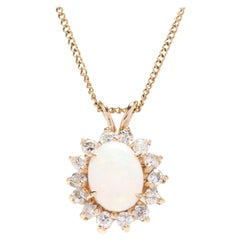 14 Karat Yellow Gold, Opal and Diamond Pendant Necklace