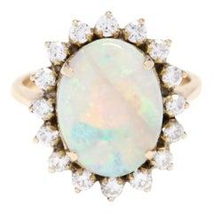14 Karat Yellow Gold Opal and Diamond Statement Ring