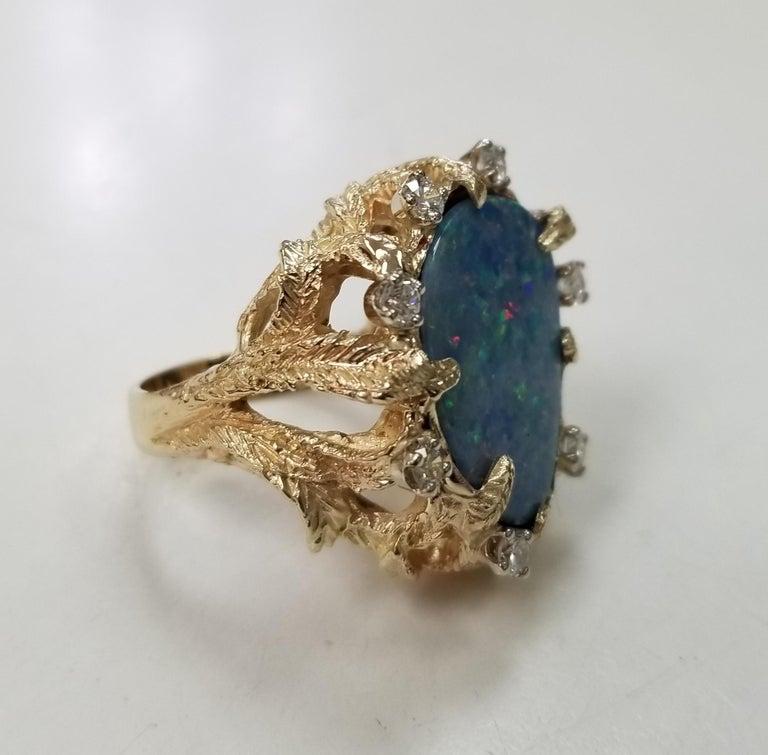 14k yellow gold opal