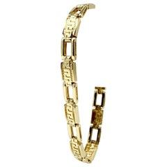 14 Karat Yellow Gold Open Greek Key Link Bracelet