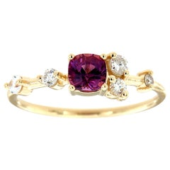 14K Yellow Gold Organic 0.58 Carat Purplish Pink Cushion Sapphire Diamond Ring