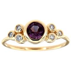 14K Yellow Gold Organic Round Purple Sapphire Diamond Ring Center-0.59 Carat
