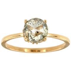 14K Yellow Gold Organic Round Salt and Pepper Diamond Ring 'Center: 1.28 Carat'