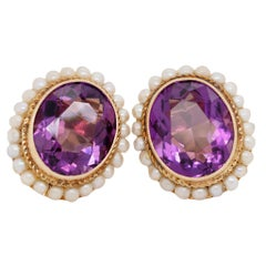 14k Yellow Gold Oval Amethyst Earrings Bezel Set and Framed by Pearls
