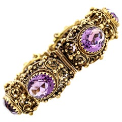 14 Karat Yellow Gold Oval Amethyst Vintage Statement Bracelet