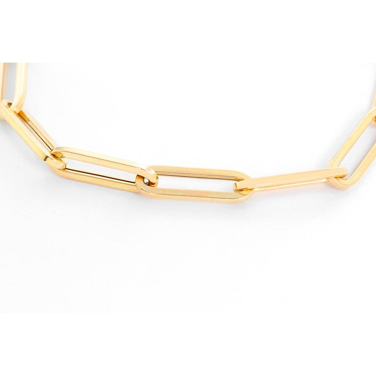 14 Karat Yellow Gold Paper Clip Chain Bracelet In New Condition For Sale In Dallas, TX