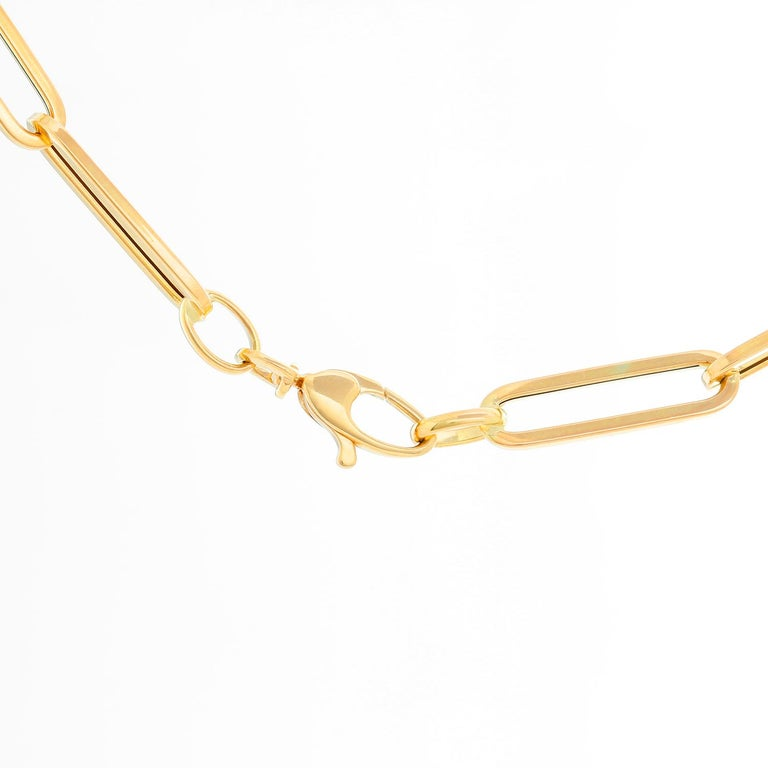 14 Karat Yellow Gold Paper Clip Chain Necklace In New Condition For Sale In Dallas, TX