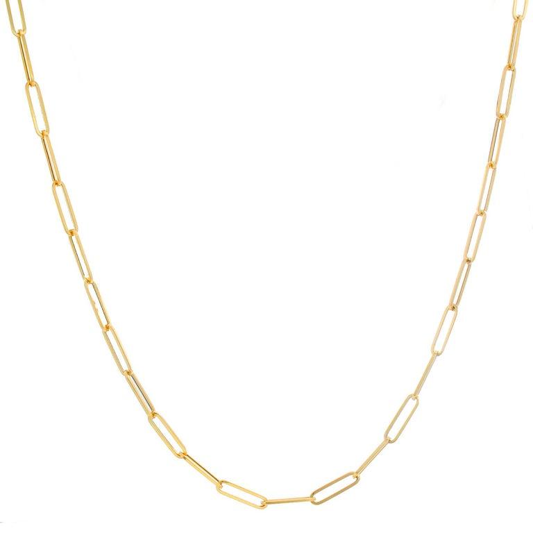 Women's 14 Karat Yellow Gold Paper Clip Chain Necklace For Sale