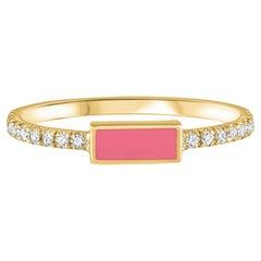 14K Yellow Gold Pave Diamond Pink Enamel Rectangle Ring Shlomit Rogel