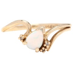 14 Karat Yellow Gold Pear Cut Opal and Diamond Minimalist Ring