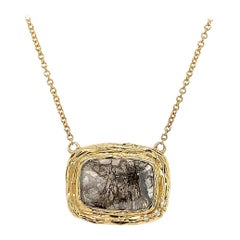 14K Yellow Gold Pear Salt and Pepper Diamond Organic Necklace 'Center - 1.96 ct'