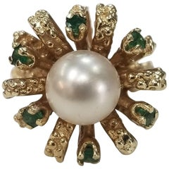 """14 Karat Yellow Gold Pearl and Emerald Ring in """"Ribbon"""" Flowing Nugget Design"""