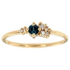 14K Yellow Gold Petie Light Blue Round Sapphire Diamond Ring Center-0.13 Carat