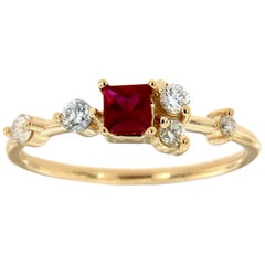 14K Yellow Gold Petite Organic Red Square Ruby Diamond Ring Center 0.27 Carat