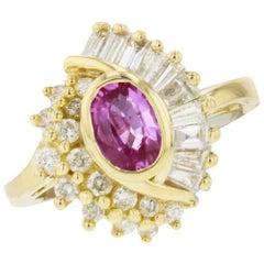 14 Karat Yellow Gold Pink Diamond Cocktail Ring