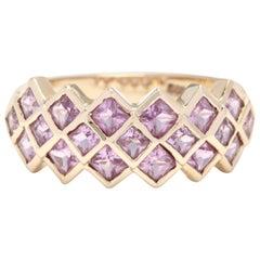 14 Karat Yellow Gold Pink Topaz Three-Row Band Ring