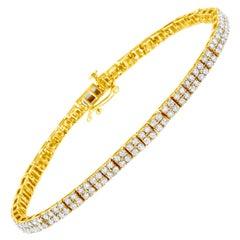 14K Yellow Gold Plated .925 Sterling Silver 3 Carat Diamond Link Tennis Bracelet