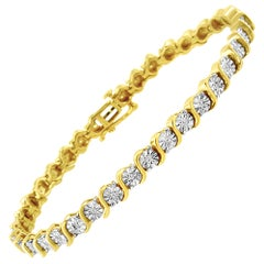 """14K Yellow Gold Plated Sterling Silver 1/4 Cttw Diamond """"S"""" Link Tennis Bracelet"""