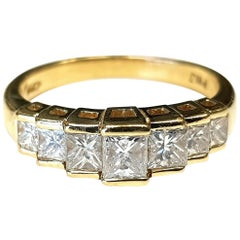 14 Karat Yellow Gold Princess Cut Diamond Ring
