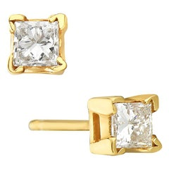 14 Karat Yellow Gold Princess Cut Diamond Stud Earrings