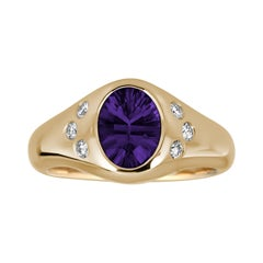 14k Yellow Gold Purple Spinel and Diamond Signet Pinky Ring