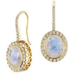 14 Karat Yellow Gold Rainbow Moonstone and Diamond Halo Gemset Dangle Earring