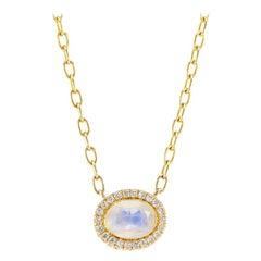 14 Karat Yellow Gold Rainbow Moonstone and Diamond Halo Necklace