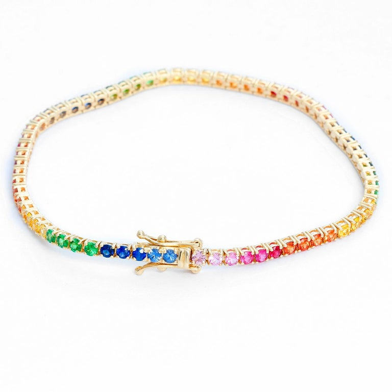 14 Karat Yellow Gold Rainbow Sapphire Bracelet In New Condition For Sale In Dallas, TX