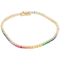 14 Karat Yellow Gold Rainbow Sapphire Bracelet